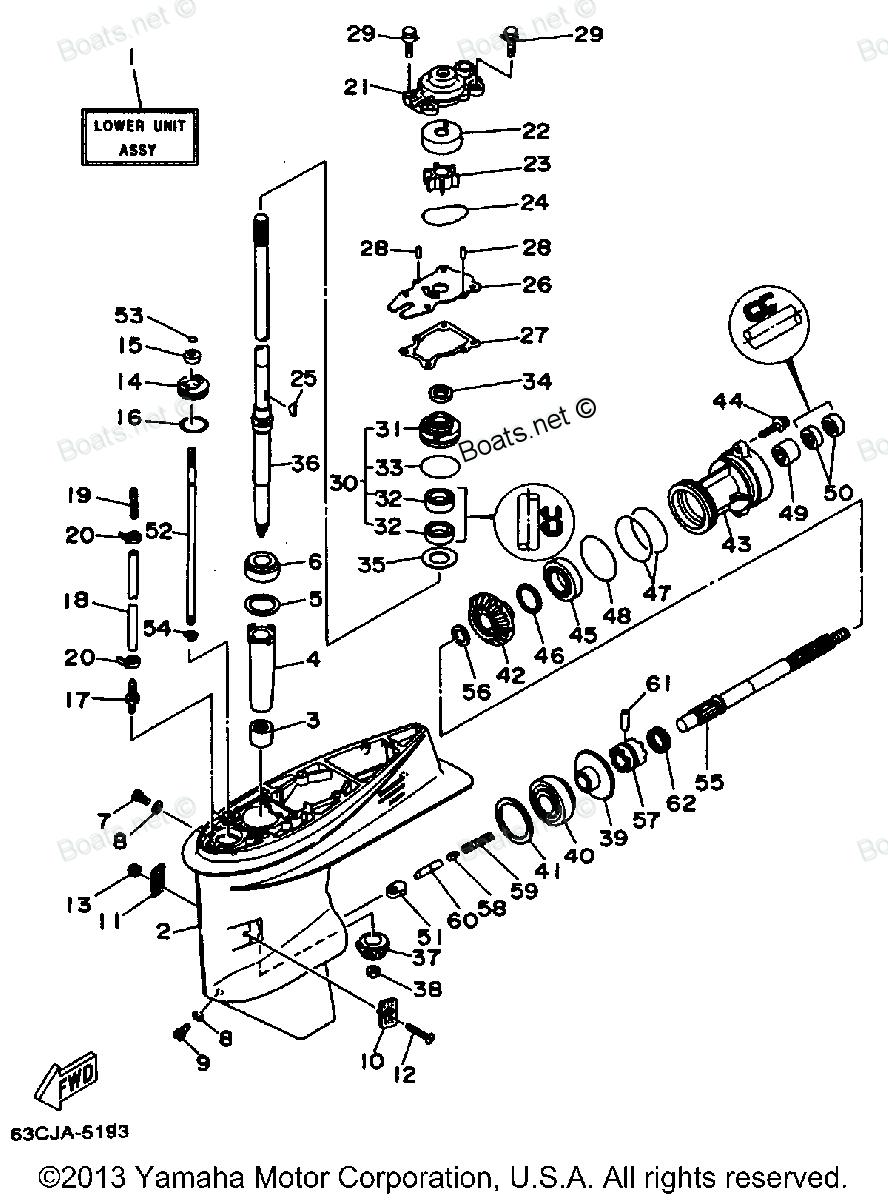 как снять редуктор на лодочном моторе yamaha