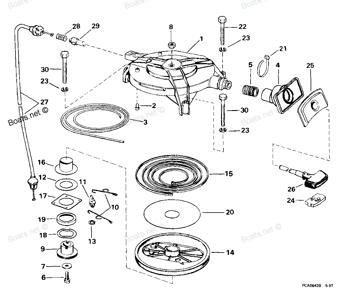 пружина стартера лодочного мотора