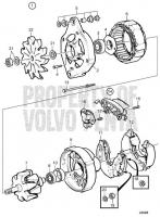 Alternator 28V 60A, Components: 872021 TAMD71B, TAMD73P-A, TAMD73WJ-A